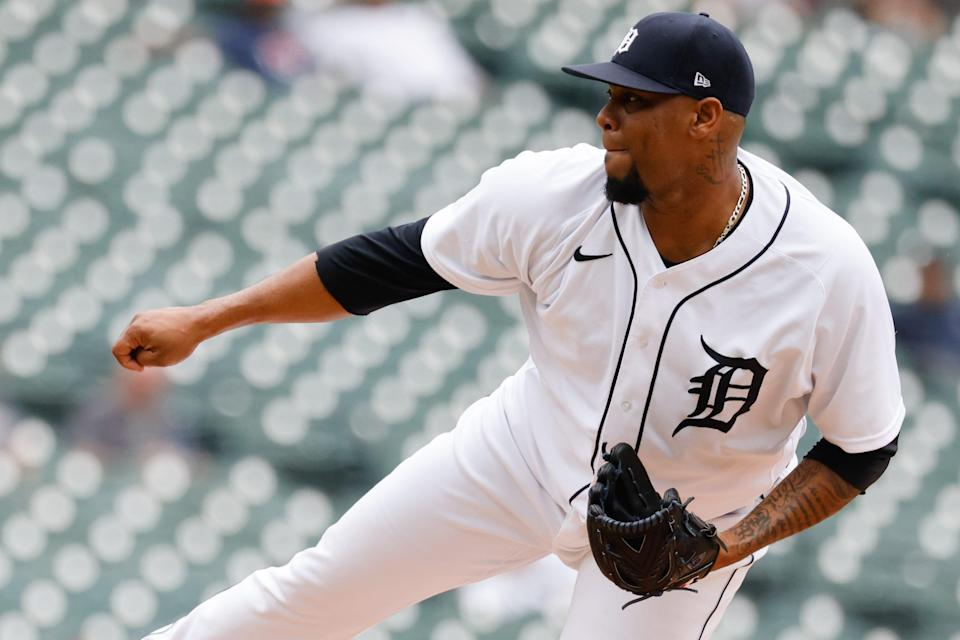 Detroit Tigers relief pitcher Jose Cisnero (67) pitches in the seventh inning June 26, 2021 against the Houston Astros at Comerica Park.