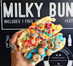 """<p><a href=""""http://aftersicecream.com/"""" rel=""""nofollow noopener"""" target=""""_blank"""" data-ylk=""""slk:Afters"""" class=""""link rapid-noclick-resp"""">Afters</a>' famed sandwich is similar to Black Dog's – it's an ice cream-filled glazed doughnut – but they're sliced in half, and the open ends are covered in toppings. The end products are colorful, with decorations like fruity pebbles, corn flakes, sprinkles, and M&M's. Don't expect to find run-of-the-mill flavors at this Fountain Valley, Calif., store either. You'll find things like Jasmine Milk Tea, Vietnamese Coffee, and Acai Blueberry Sorbet on the menu.<br></p><p><i>Photo: <a href=""""https://instagram.com/p/5sK1tuGW44/"""" rel=""""nofollow noopener"""" target=""""_blank"""" data-ylk=""""slk:@new_fork_city/Instagram"""" class=""""link rapid-noclick-resp"""">@new_fork_city/Instagram</a></i><br></p>"""