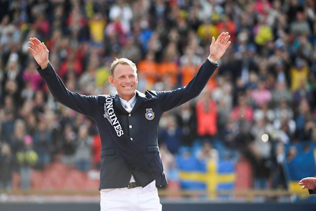 Equestrian - FEI European Championships 2017 - Jumping Individual Final victory ceremony - Ullevi Stadium, Gothenburg, Sweden - August 27, 2017 - Peder Fredicson (gold) of Sweden reacts. TT News Agency/Pontus Lundahl via REUTERS ATTENTION EDITORS - THIS IMAGE WAS PROVIDED BY A THIRD PARTY. SWEDEN OUT. NO COMMERCIAL OR EDITORIAL SALES IN SWEDEN