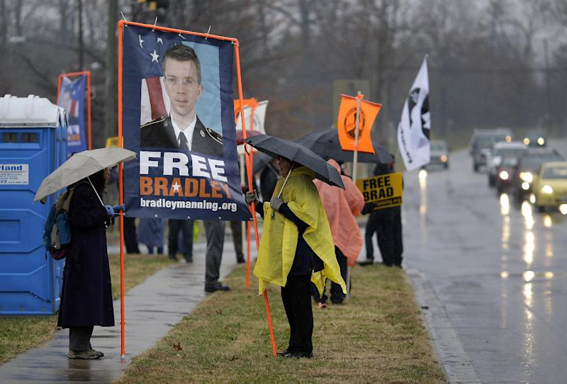 Demonstrators stand in support of Army Pfc. Bradley Manning outside of Fort Meade, Md., Tuesday, Nov. 27, 2012, where Manning is scheduled to appear for a pretrial hearing. Manning is charged with aiding the enemy by causing hundreds of thousands of classified documents to be published on the secret-sharing website WikiLeaks. (AP Photo/Patrick Semansky)