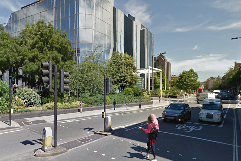 The crash happened on Hammersmith Road in Kensington: Google Street View