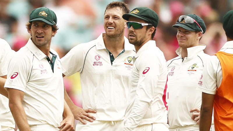 James Pattinson, pictured here after his wicket ball to Glenn Phillips was ruled a no ball.