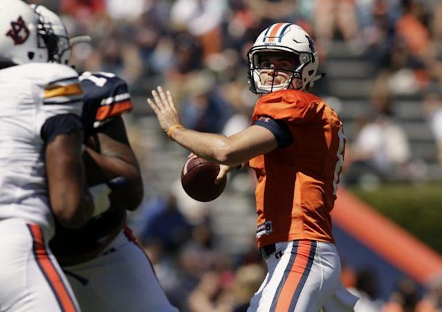 "<a class=""link rapid-noclick-resp"" href=""/ncaaf/players/251133/"" data-ylk=""slk:Jarrett Stidham"">Jarrett Stidham</a>, a Baylor transfer, was the offensive MVP of Auburn's spring game. (AP)"