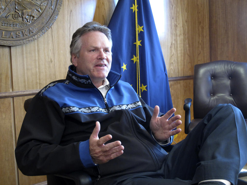 FILE - In this June 7, 2021, file photo, Alaska Gov. Mike Dunleavy gives an interview in the state Capitol in Juneau, Alaska. The group opposed to Gov. Dunleavy has yet to gather enough signatures to force a recall election, nearly two years after launching and with just over a year before the 2022 primary election. Meda DeWitt, who is chair of the Recall Dunleavy effort, said the group was slowed by the pandemic last year and continues to gather signatures. She said group leaders are expected to meet soon, though she declined to say when or why. (AP Photo/Becky Bohrer, File)
