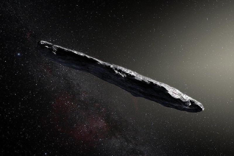 An artist's impression of the huge cigar-shaped object: PA