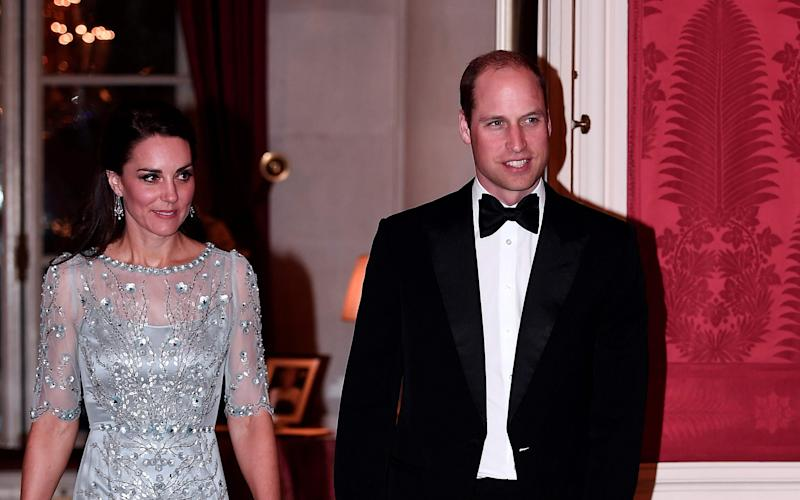 The Duke and Duchess of Cambridge have attended a  grand black tie dinner at the official residence of the British Ambassador Lord Llewellyn of Steep in Paris. - AFP or licensors