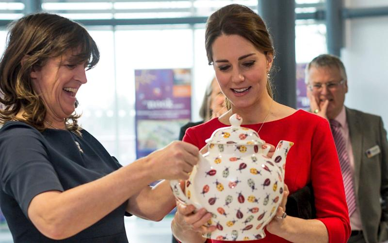 The Duchess of Cambridge speaks to ceramics manufacturer Emma Bridgewater