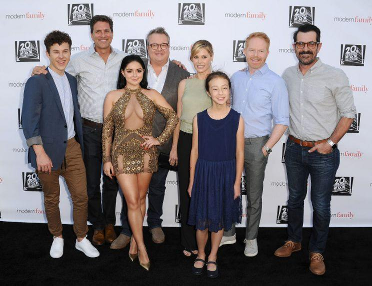 NORTH HOLLYWOOD, CA - MAY 03: (L-R) Nolan Gould, Steven Levitan, Ariel Winter, Eric Stonestreet, Julie Bowen, Aubrey Anderson-Emmons, Jesse Tyler Ferguson and Ty Burrell attend the