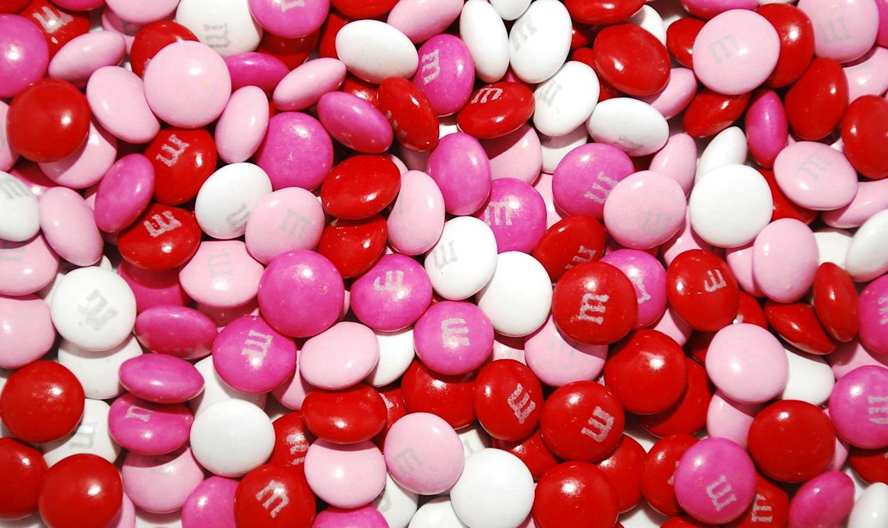 "<p>There are few candies as plentiful and classic as the candy-coated chocolate original: the M&M. America loves M&M's (and has since they <a href=""https://www.thedailymeal.com/eat/most-popular-candy-year-you-were-born-gallery?referrer=yahoo&category=beauty_food&include_utm=1&utm_medium=referral&utm_source=yahoo&utm_campaign=feed"">debuted in 1941</a>), especially <a href=""https://www.thedailymeal.com/news/mms-halloween-target/072919?referrer=yahoo&category=beauty_food&include_utm=1&utm_medium=referral&utm_source=yahoo&utm_campaign=feed"">their seasonal offerings</a>. But those classic red and pink M&M's are just milk chocolate-filled, like regular M&Ms. Unless you're making your loved ones cookies this Valentine's Day, get something a little more creative than this.</p>"