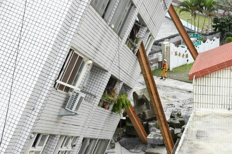 A badly damaged hotel in the Taiwanese city of Hualien, which was hit by a 6.4-magnitude quake late on February 6