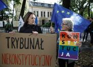 Demonstration outside Poland's Constitutional Tribunal building in Warsaw