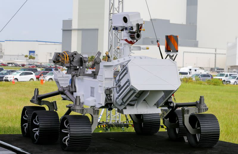 FILE PHOTO: A replica of the Mars 2020 Perseverance Rover is shown during a press conference, at the Kennedy Space Center in Cape Canaveral