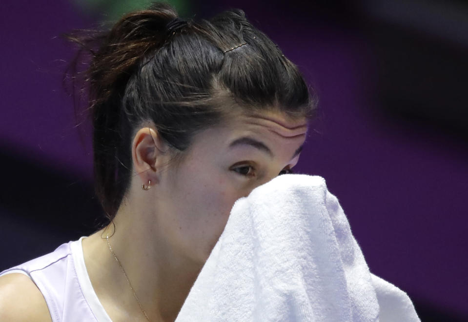 Margarita Gasparyan of Russia leaves the competition due to ill health, during the St. Petersburg Ladies Trophy 2021 tennis tournament final match against Daria Kasatkina of Russia in St. Petersburg, Russia, Sunday, March 21, 2021. (AP Photo/Dmitri Lovetsky)