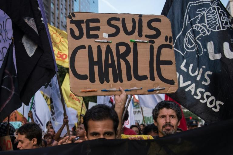 """The slogan """"Je Suis Charlie"""" (I am Charlie) has come to symbolise the fight for freedom of expression after jihadist gunmen stormed the Paris offices satirical magazine Charlie Hebdo in 2015"""