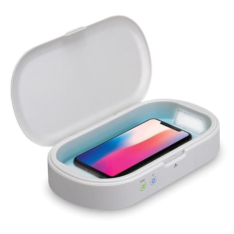"This UV sanitizer doubles as a phone charger and aromatherapy machine so it's perfect to keep on your nightstand. <a href=""https://fave.co/338aFkg"" target=""_blank"" rel=""noopener noreferrer"">Find it for $40 at Home Depot</a>."