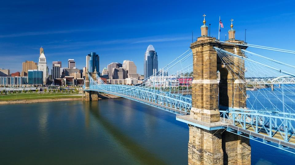 cityscape photo of Roebling Suspension Bridge in and skyline of Cincinnati, Ohio
