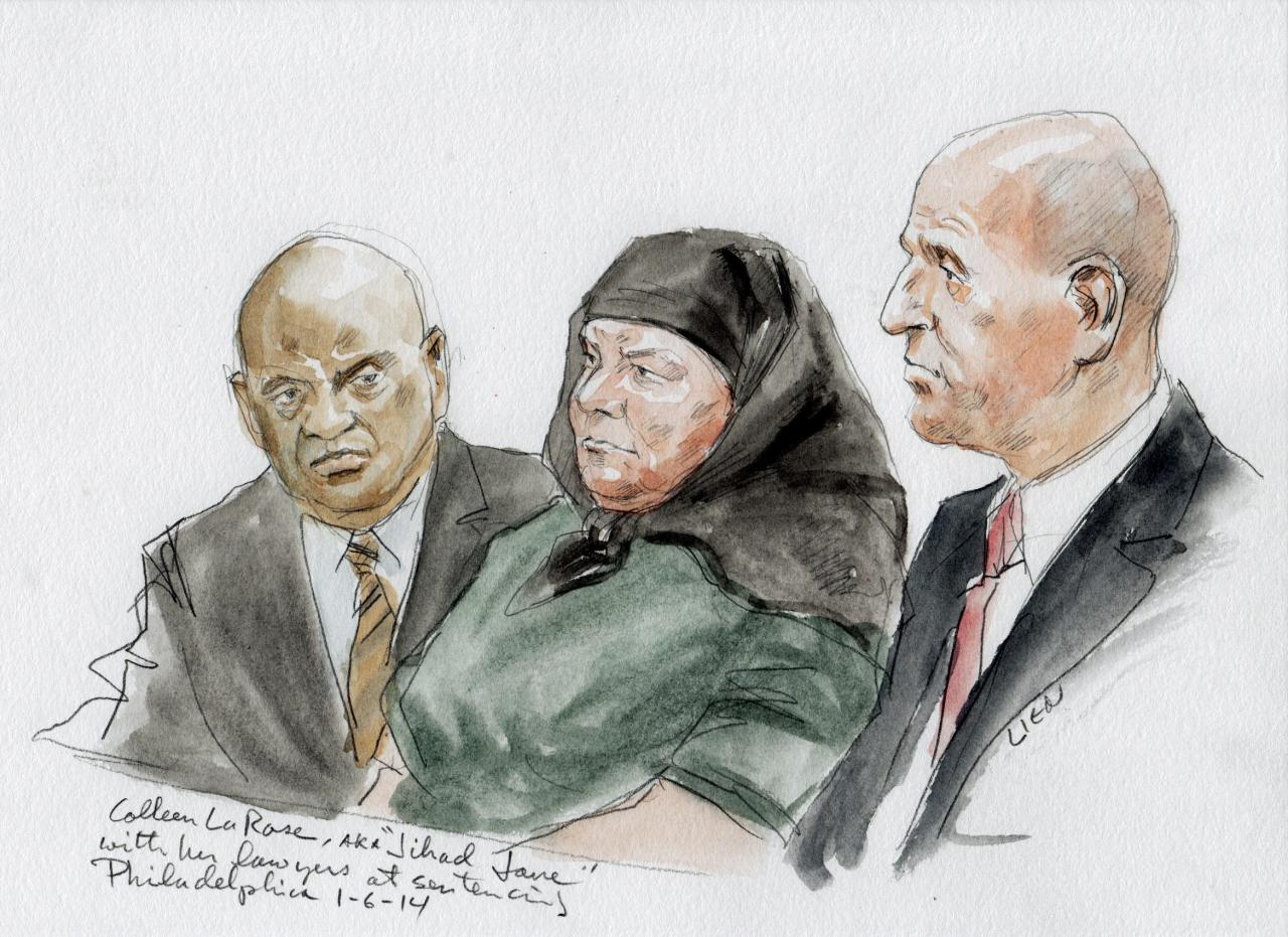 Colleen LaRose (C) and her attorney Mark Wilson (R) are shown in this courtroom sketch during her sentencing hearing in Philadelphia, Pennsylvania January 6, 2014. LaRose, who calls herself Jihad Jane, was sentenced to 10 years in prison Monday for a failed al Qaeda-linked plot to kill a Swedish artist who had depicted the head of the Muslim Prophet Mohammad on a dog. The man on the left is unidentified. REUTERS/Art Lien (UNITED STATES - Tags: CRIME LAW) NO SALES. NO ARCHIVES. FOR EDITORIAL USE ONLY. NOT FOR SALE FOR MARKETING OR ADVERTISING CAMPAIGNS