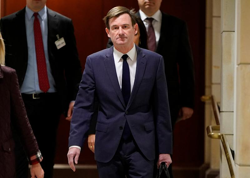 David Hale, Under Secretary of State for Political Affairs, arrives for a closed-door deposition as part of the impeachment inquiry into U.S. President Trump led by the House Intelligence, House Foreign Affairs and House Oversight and Reform Committees on Capitol Hill in Washington, U.S., November 6, 2019. (Photo: Joshua Roberts/Reuters)