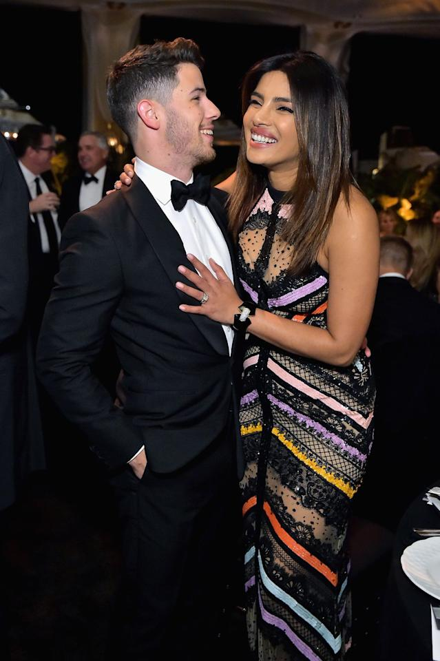 "<p>After two months of dating, Chopra and Jonas <a rel=""nofollow"" href=""https://www.harpersbazaar.com/celebrity/latest/a22572681/nick-jonas-priyanka-chopra-engaged/"">became engaged</a> in July 2018. The couple then held a lavish <a rel=""nofollow"" href=""https://www.harpersbazaar.com/celebrity/latest/a25107771/priyanka-chopra-nick-jonas-wedding-details/"">wedding</a> in December of that year, complete with two ceremonies and multiple celebrations in India. While many fans noted their age difference, the couple couldn't care less. ""The age difference is not a big deal to them whatsoever,"" a source close to Jonas told <em><a rel=""nofollow"" href=""https://people.com/music/nick-jonas-loves-priyanka-chopra-older-mature/"">People</a></em>. In fact, Nick reportedly is a fan of the age gap between him and Priyanka. He ""loves dating older women, and if anything it makes Priyanka even more attractive to him,"" the source added. Jonas has ""always been very mature for his age"" and is ""an old soul.""</p>"