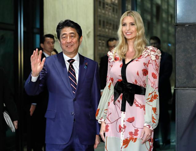Ivanka Trump and Japanese Prime Minister Shinzo Abe, November 2017. (Photo: Getty Images)