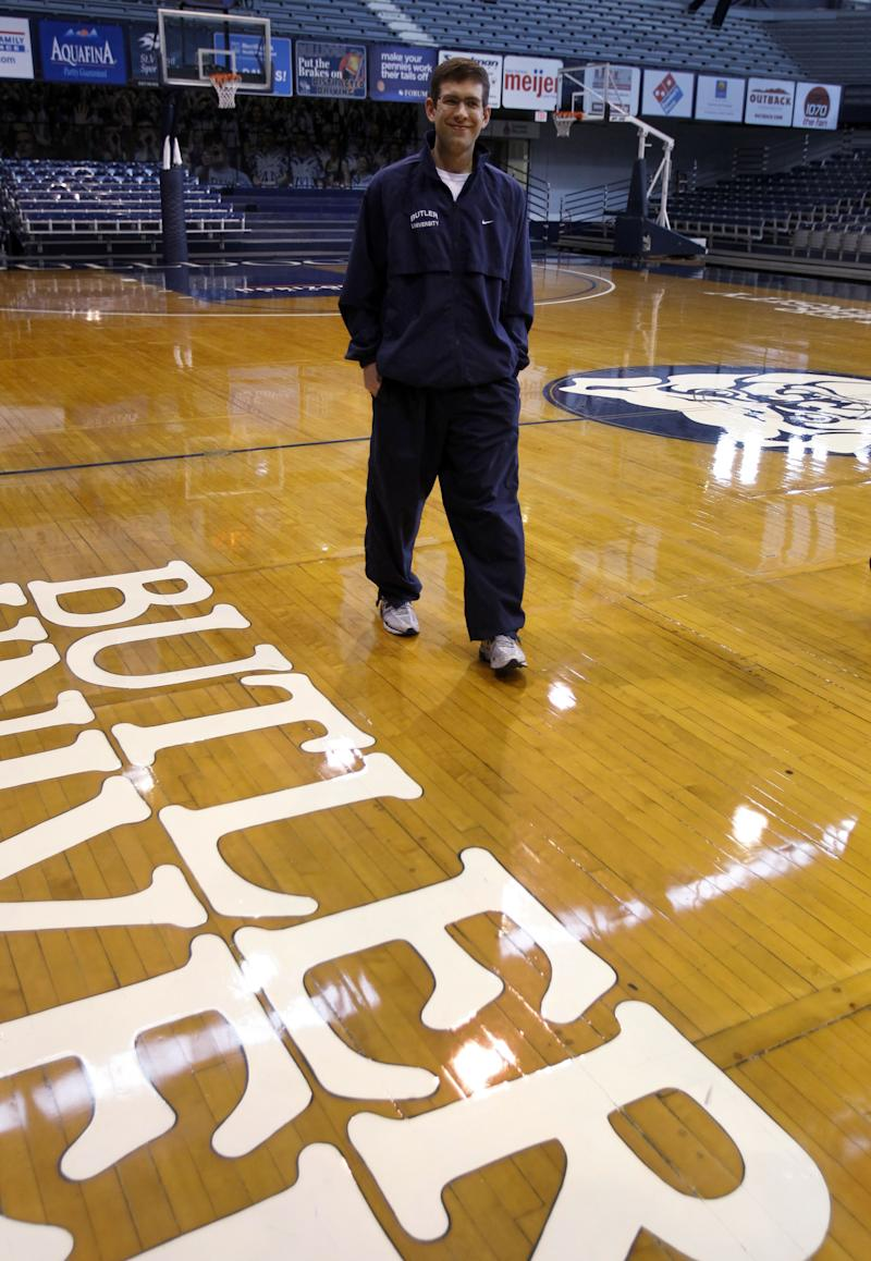 Butler guard head coach Brad Stevens walks off the court before the start of practice in Indianapolis, Monday, March 21, 2011. The NCAA men's college basketball team will play Wisconsin in the Southeast Regional in New Orleans.  (AP Photo/Michael Conroy)