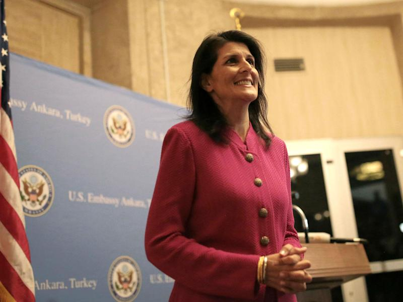 US Ambassador to the UN Nikki Haley said that she would not have set up a backchannel to communicate with the Kremlin through their embassy in Washington, DC as senior White House aide Jared Kushner is accused of doing: BURHAN OZBILICI/AFP/Getty Images