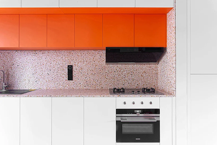 Terrazzo kitchen wall pattern featured in 000 Design's