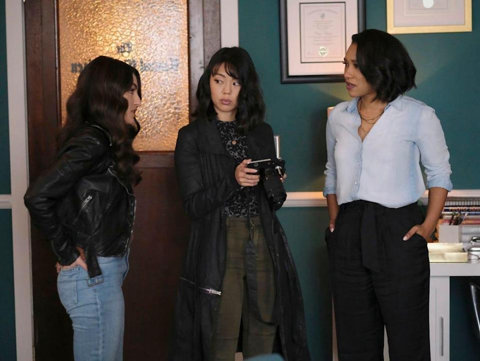 """From left: Kayla Compton as Allegra Garcia, Victoria Park as Kamilla Hwang, and Candice Patton as Iris West-Allen on season seven, episode nine of """"The Flash."""""""
