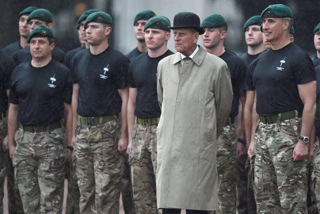 Philip attends the Captain General's Parade during his final individual public engagement at Buckingham Palace