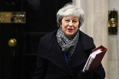 Britain's Prime Minister Theresa May leaves Downing Street, as she faces a no confidence vote after Parliament rejected her Brexit deal, in London, Britain, January 16, 2019. REUTERS/Clodagh Kilcoyne