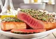 """<p>Who says your Passover meal needs to center around meat? This Mediterreanean-flavored, <a href=""""https://www.thedailymeal.com/best-recipes/24-foolproof-seafood-recipes-anyone-can-cook-slideshow?referrer=yahoo&category=beauty_food&include_utm=1&utm_medium=referral&utm_source=yahoo&utm_campaign=feed"""" rel=""""nofollow noopener"""" target=""""_blank"""" data-ylk=""""slk:pescetarian-friendly main"""" class=""""link rapid-noclick-resp"""">pescetarian-friendly main</a> looks impressive but takes just minutes to cook. Be sure to get the highest quality tuna you can so that you can serve it super rare.</p> <p><a href=""""https://www.thedailymeal.com/recipes/seared-tuna-olives-and-capers-recipe?referrer=yahoo&category=beauty_food&include_utm=1&utm_medium=referral&utm_source=yahoo&utm_campaign=feed"""" rel=""""nofollow noopener"""" target=""""_blank"""" data-ylk=""""slk:For the Seared Tuna With Olives and Capers recipe, click here."""" class=""""link rapid-noclick-resp"""">For the Seared Tuna With Olives and Capers recipe, click here.</a></p>"""