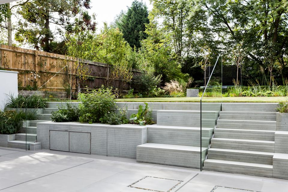 How much does landscaping cost: modern garden with paved patio