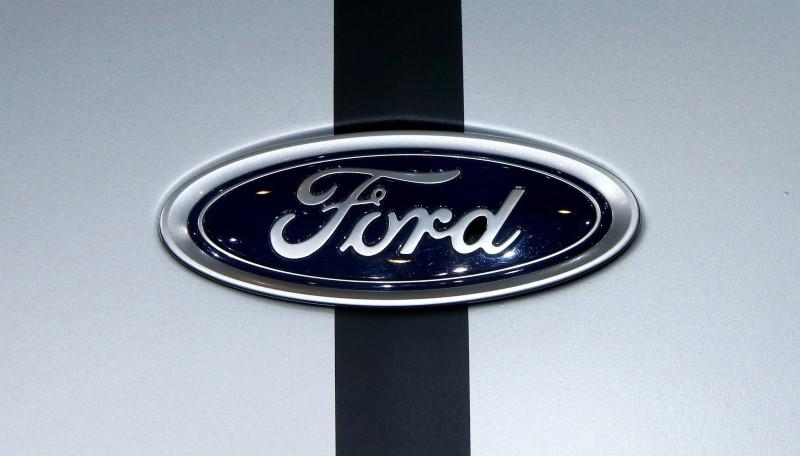 The logo of Ford is seen during the 87th International Motor Show at Palexpo in Geneva