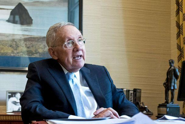 PHOTO: Former Senate Majority Leader Harry Reid speaks about Nevada politics, the presidential race and baseball during an interview in his office at the Bellagio in Las Vegas on July 2, 2019. (Bill Clark/CQ-Roll Call via Getty Images, FILE)