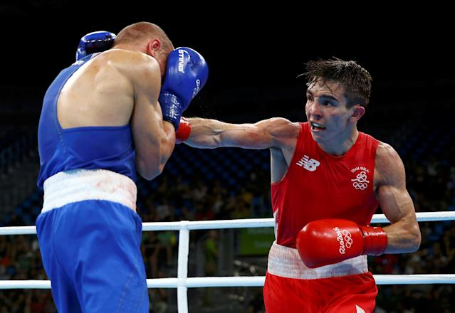 2016 Rio Olympics - Boxing - Quarterfinal - Men's Bantam (56kg) Quarterfinals Bout 223 - Riocentro - Pavilion 6 - Rio de Janeiro, Brazil - 16/08/2016. Michael Conlan (IRL) of Ireland and Vladimir Nikitin (RUS) of Russia compete. REUTERS/Peter Cziborra/File Photo FOR EDITORIAL USE ONLY. NOT FOR SALE FOR MARKETING OR ADVERTISING CAMPAIGNS.