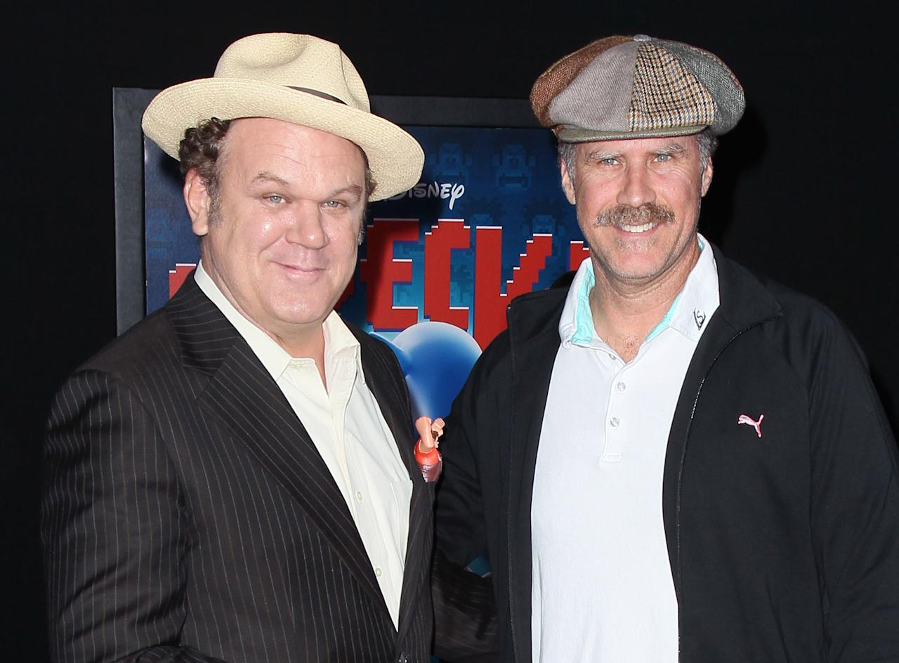 "HOLLYWOOD, CA - OCTOBER 29:  Actors John C. Reilly (L) and Will Ferrell attend the premiere of Walt Disney Animation Studios' ""Wreck-It Ralph"" at the El Capitan Theatre on October 29, 2012 in Hollywood, California.  (Photo by David Livingston/Getty Images)"