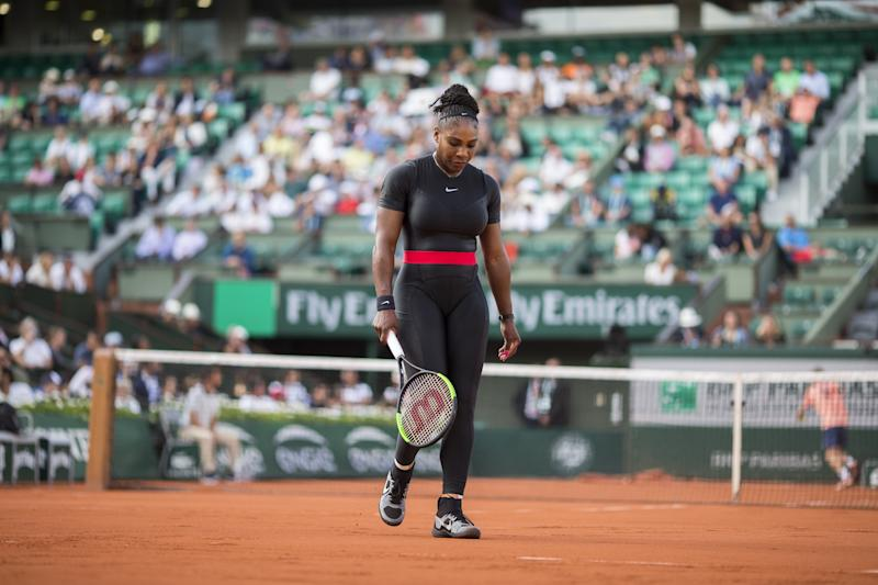 PARIS, FRANCE May 31. French Open Tennis Tournament - Day Five. Serena Williams of the United States in action against Ashleigh Barty of Australia on Court Philippe-Chatrier in the Women's Singles Competition at the 2018 French Open Tennis Tournament at Roland Garros on May 31st 2018 in Paris, France. (Photo by Tim Clayton/Corbis via Getty Images)