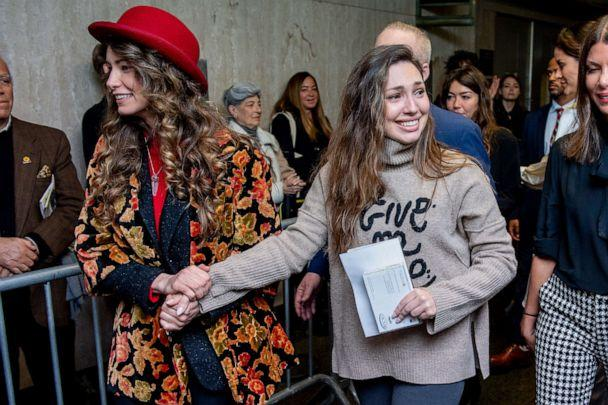 PHOTO: Actors Lauren Young, left, and Jessica Mann walk out of the courthouse after movie mogul Harvey Weinstein was sentenced to 23 years in prison on March 11, 2020 in New York City. (Roy Rochlin/Getty Images)