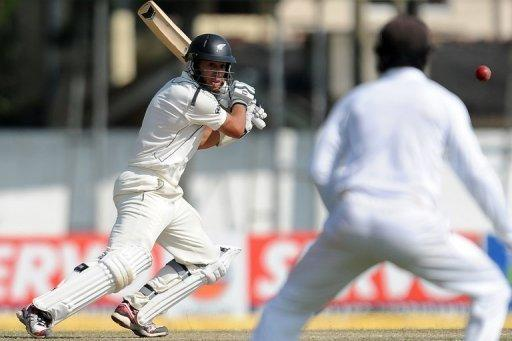 New Zealans skipper Ross Taylor plays a shot against Sri Lanka in Colombo on Wednesday. New Zealand declared their second innings at 194-9 on the fourth day of the second and final Test on Wednesday, setting Sri Lanka a target of 363 to win the match