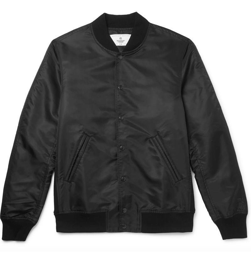 """<p><strong>Reigning Champ</strong></p><p>mrporter.com</p><p><strong>$280.00</strong></p><p><a href=""""https://go.redirectingat.com?id=74968X1596630&url=https%3A%2F%2Fwww.mrporter.com%2Fen-us%2Fmens%2Fproduct%2Freigning-champ%2Fclothing%2Fbomber-jackets%2Fstadium-shell-bomber-jacket%2F3633577413084231&sref=https%3A%2F%2Fwww.esquire.com%2Fstyle%2Fnews%2Fg2932%2F10-best-bomber-jackets-for-fall%2F"""" rel=""""nofollow noopener"""" target=""""_blank"""" data-ylk=""""slk:Buy"""" class=""""link rapid-noclick-resp"""">Buy</a></p><p>A sleek homage to the OG MA-1 style, slimmed down and sexed up considerably via tonal snap fastenings and flexible ribbed trims.<br></p>"""