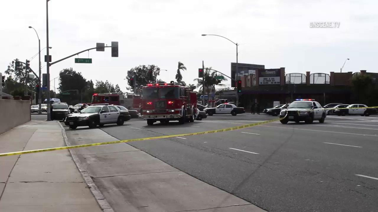 Long Beach police on Sunday opened fire on a woman who was reportedly armed with a knife.