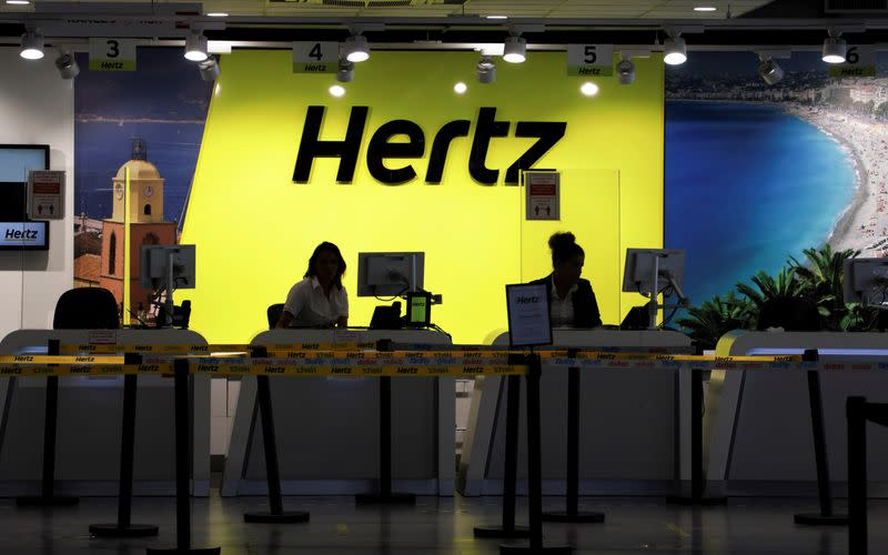 The desk of car rental company Hertz is seen at Nice International airport