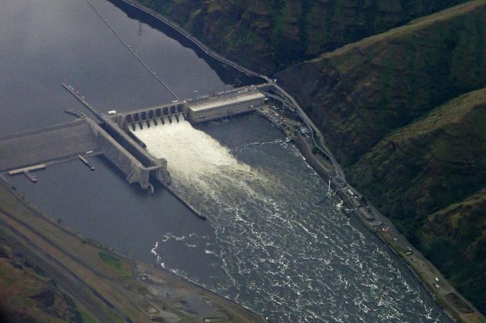 FILE - In this May 15, 2019 file photo, the Lower Granite Dam on the Snake River is seen from the air near Colfax, Washington Farmers, environmentalists, tribal leaders and public utility officials are eagerly awaiting a federal report due Friday, Feb. 28, 2020, that could decide the fate of four hydroelectric dams on the Snake River. (AP Photo/Ted S. Warren,File)