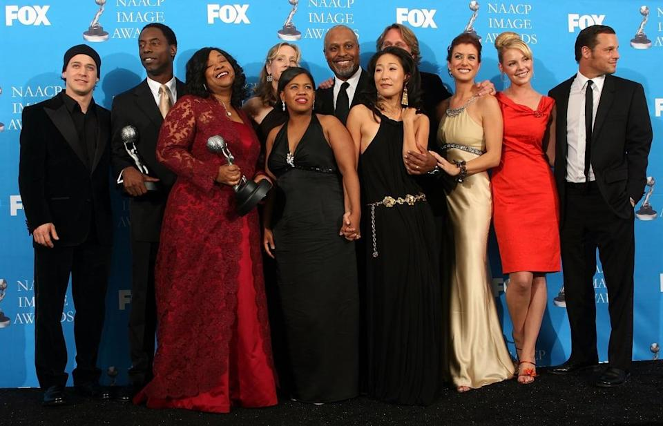 """<div class=""""inline-image__caption""""><p>The cast of <em>Grey's Anatomy</em> pose in the press room at the 37th Annual NAACP Image Awards at the Shrine Auditorium on February 25, 2006, in Los Angeles, California. </p></div> <div class=""""inline-image__credit"""">Frederick M. Brown/Getty</div>"""