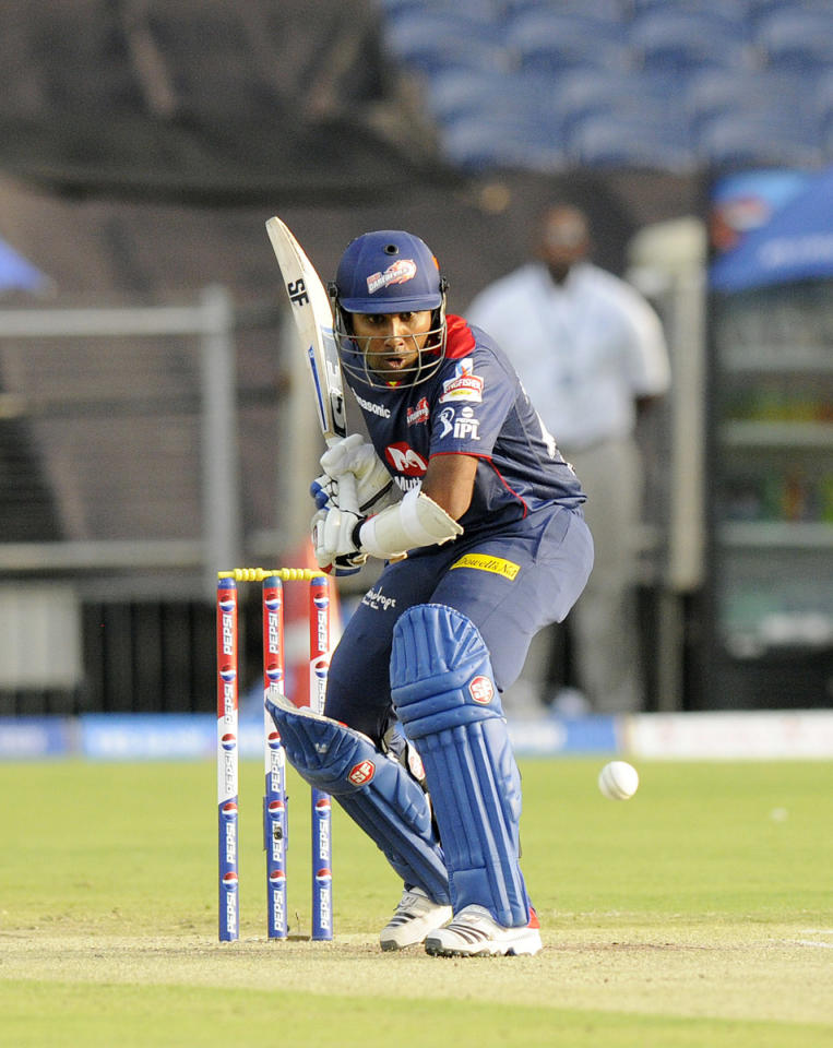 Mahela Jayawardene captain of Delhi Daredevils bats during match 71 of the Pepsi Indian Premier League ( IPL) 2013  between The Pune Warriors India and the Delhi Daredevils held at the Subrata Roy Sahara Stadium, Pune on the 19th May 2013. (BCCI)