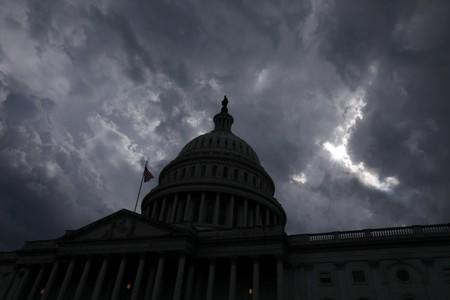 Storm clouds pass over the U.S. Capitol dome in Washington