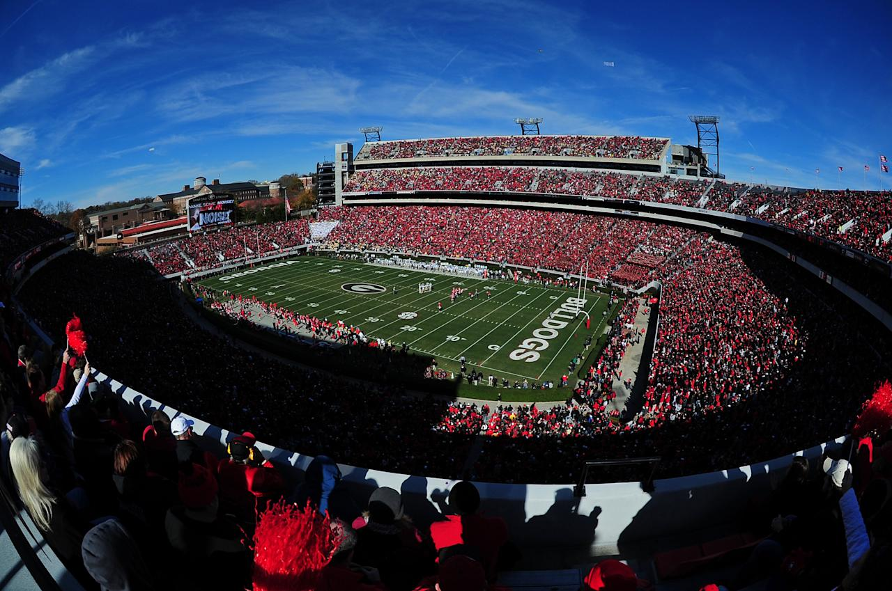 ATHENS, GA - NOVEMBER 24: A general view of Sanford Stadium during the game between the Georgia Bulldogs and the Georgia Tech Yellow Jackets on November 24, 2012 in Athens, Georgia. (Photo by Scott Cunningham/Getty Images)