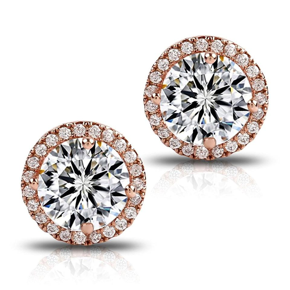 <p>We're obsessed with the glam look of these <span>Fleur Rouge 18K Rose Gold-Plated Cluster Round-Cut Stud Earrings </span> ($13, originally $15). </p>