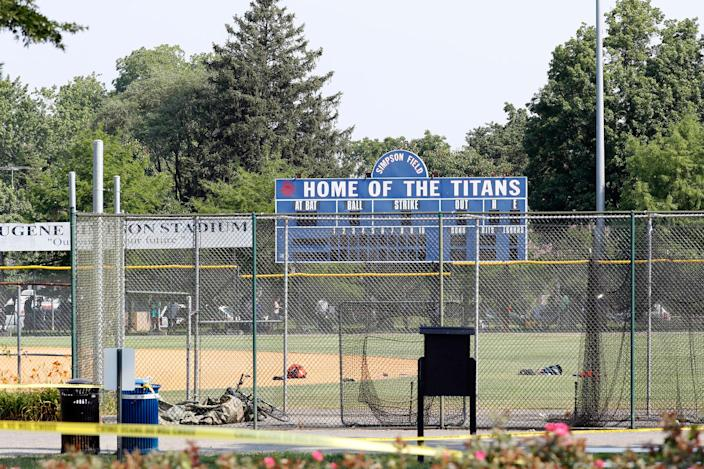 <p>The baseball field that is the scene of a shooting in Alexandria, Va., Wednesday, June 14, 2017, where House Majority Whip Steve Scalise of La. was shot at a congressional baseball practice. (Photo: Alex Brandon/AP) </p>
