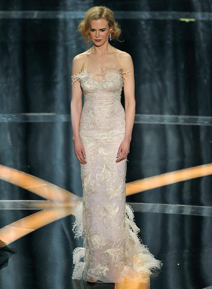 """Nicole Kidman   Grade: D       The star of the box office bomb """"Australia"""" (in L'Wren Scott) looked like she slapped some glue on her body and rolled around in a pile of shredded tissues."""